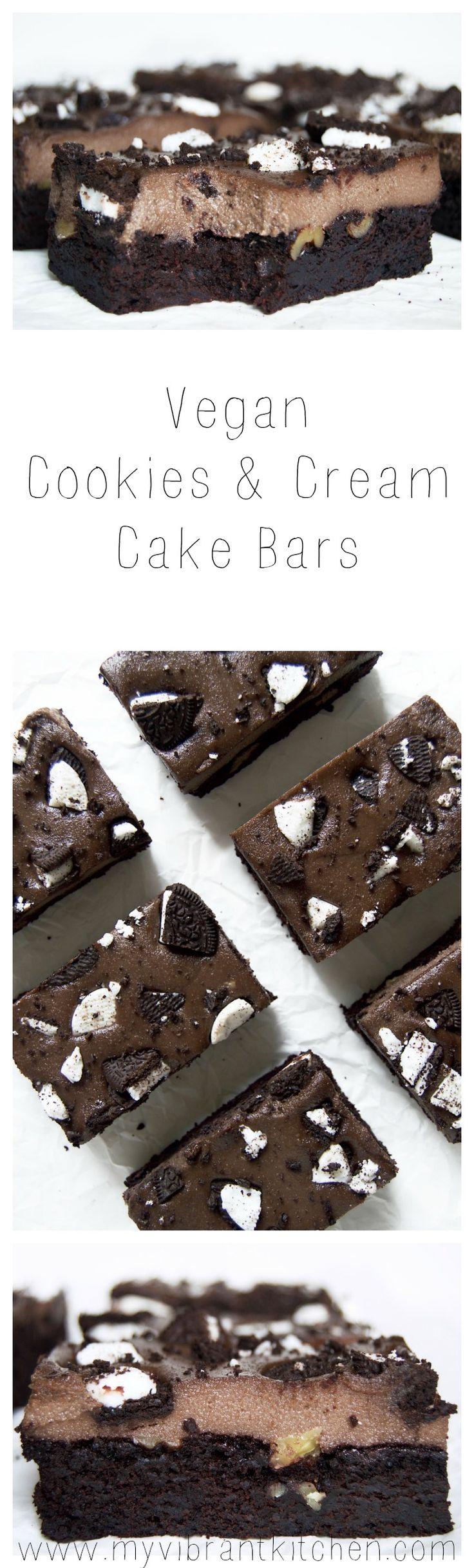 My Vibrant Kitchen | Vegan Cookies & Cream Cake Bars | myvibrantkitchen.com