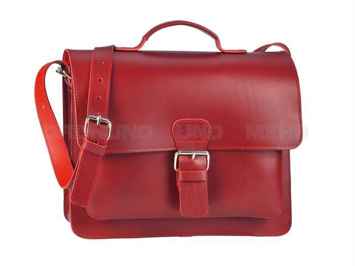 ruitertassen - Sattelleder kleine Aktentasche Umhängetasche Lehrertasche Studententasche - rot