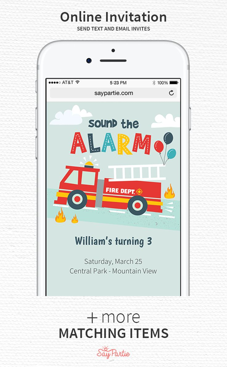 Send text and email invites with our Fire Truck online invitation! Includes photo personalization, RSVP manager and guest reminders. Get the complete look for your party with our full set of matching items including paper invitations, thank you cards, cupcake toppers, water bottle labels, tent cards, favor labels and more! #kidsbirthday #saypartie #firetruckparty @saypartie