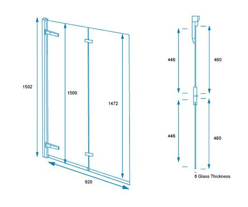 8mm 2 Panel Bi-Fold Bath Shower Screen 1000mm Left - V20161041OC tech_drawing square medium