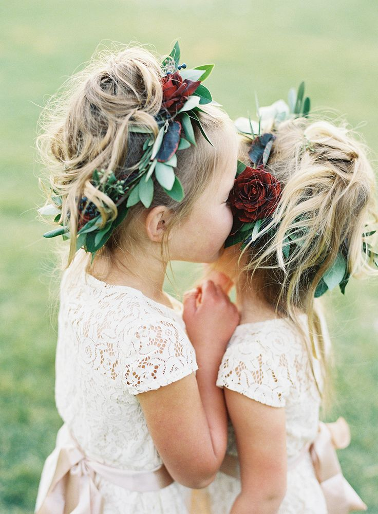 Flower Girls with Flower Crowns on Film Colorful Fall Colorado Wedding | Wild Ca…