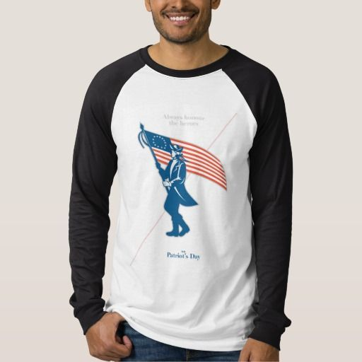 Patriots Day Greeting Card American Patriot Soldie T-shirts. Patriots Day greeting card featuring an illustration of an American patriot soldier military serviceman waving holding USA stars and stripes flag walking marching viewed from the side set on isolated white background done in retro style with the words Always Honour the Heroes on Patriot's Day. #illustration #PatriotsDayGreetingCardAmericanPatriotSoldie