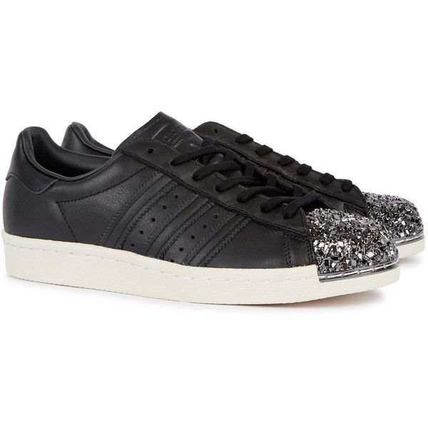adidas Originals Superstar 80s black leather trainers ($125) ❤ liked on Polyvore featuring shoes, sneakers, 80s sneakers, leather sneakers, adidas originals shoes, black leather trainers and black leather sneakers