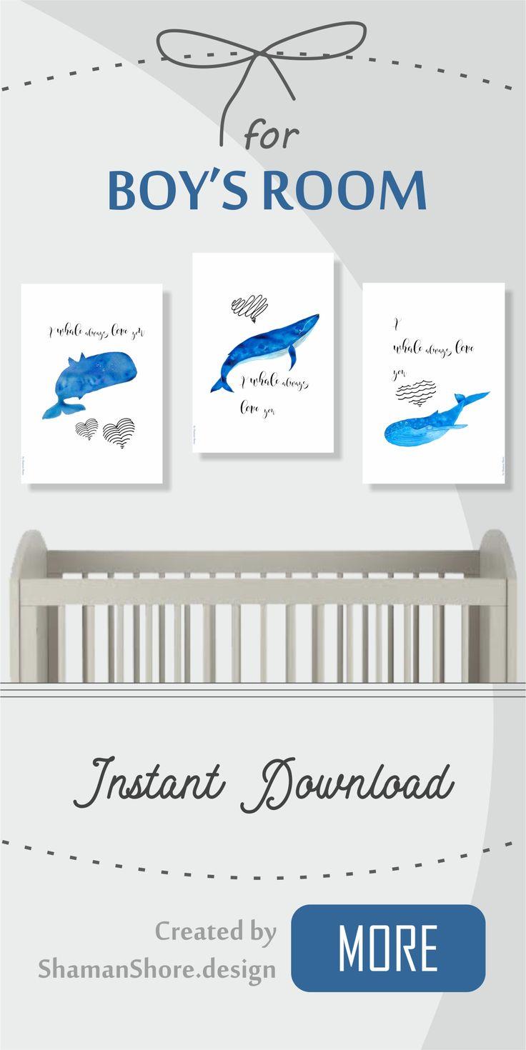 Boy's Room Blue Artwork, Nautical Nursery Wall Décor Whale Nursery Print Set, Sea Animals Baby Whale Watercolor Wall Art Printable, Digital Download, I whale always love you quote art, Decoración del cuarto de niños