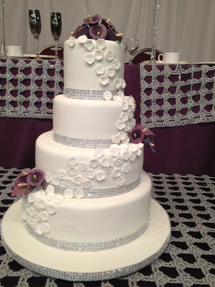 White And Purple Wedding Cake 4 Tier Lemon With