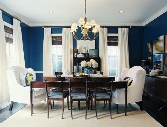 A bit formal for my taste but love the color scheme. Boards, Wall Colors, Dining Rooms, Curtains, Blue Walls, Chairs, Diningroom, Painting Colors, Dark Wall