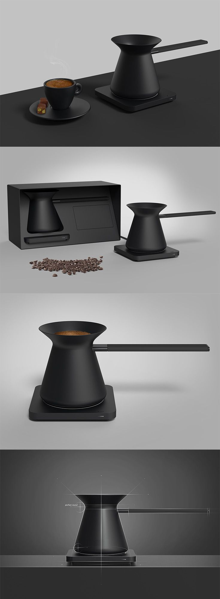 Sedat Ozer's 'Kaffa' combines trend and tradition in a beautiful, minimalist take on the Turkish coffee pot, modeled after the conical shape of the time-tested  original, the design allows users to enjoy the Turkish method of coffee brewing from anywhere, without the need for fire... READ MORE at Yanko Design !