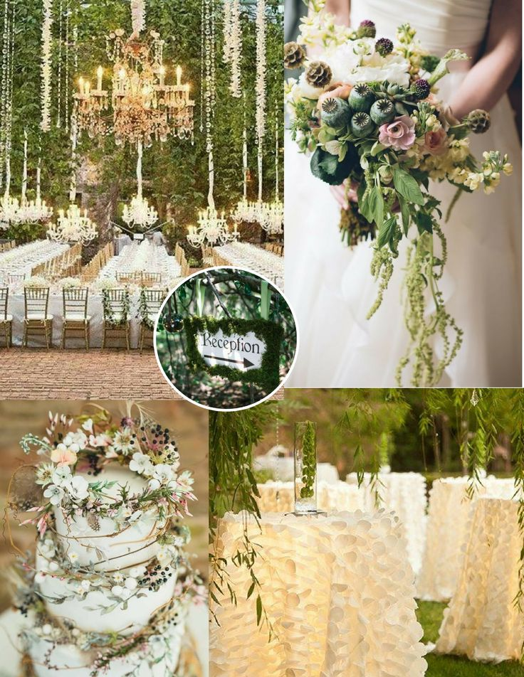 Enchanted Forest Theme Wedding Greenery Natural Outdoor Ceremony Setting