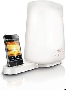 Philips wake-up light with iPhone/Pod dock to wake up to music.