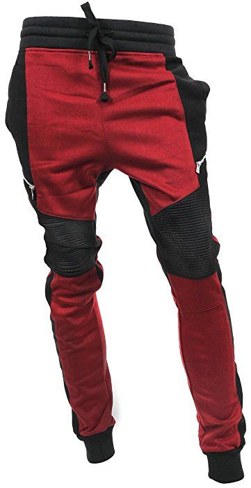 d1bfeef4b249a6 Hat and Beyond Casual Fleece Jogger Pants Active Elastic Urban Biker Slim  Fit VW500 (Small, VW5014)