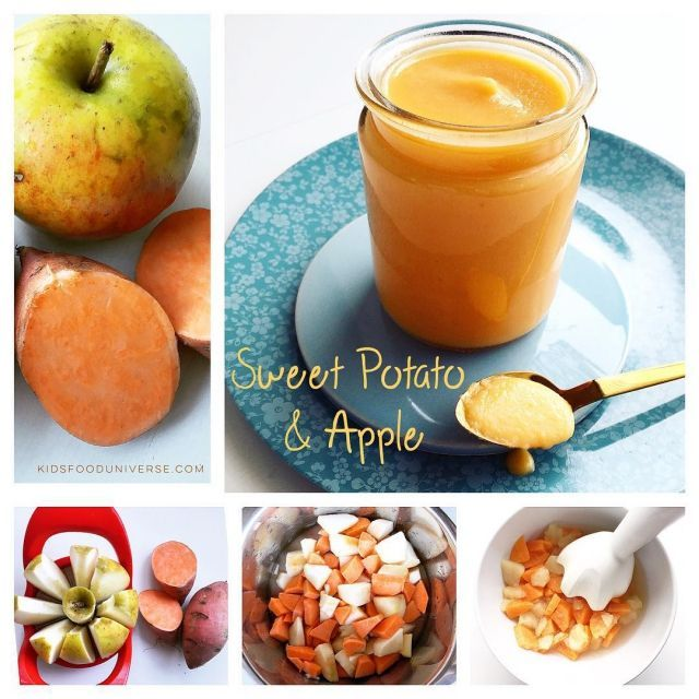 Delicious sweet potato and apple baby food beginner puree suitable from 4 months +