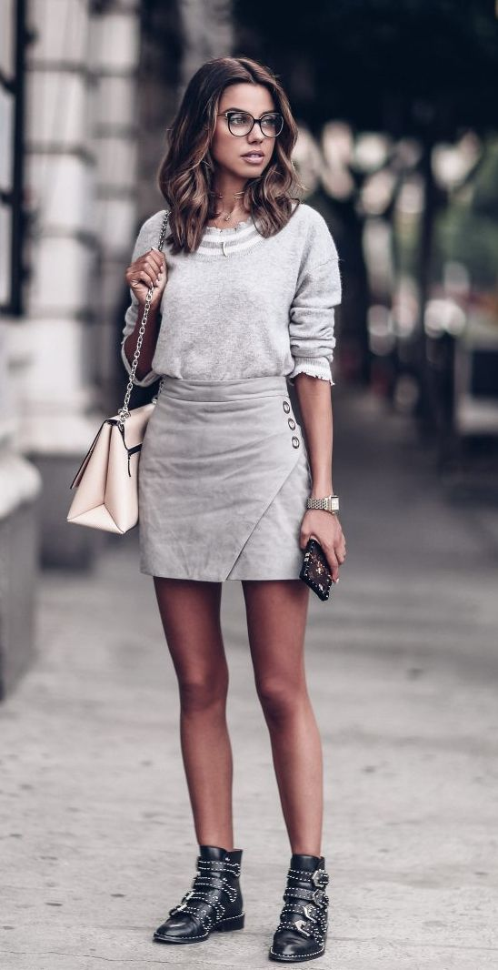 Grey suede wrap skirt, and those boots!! http://bellanblue.com