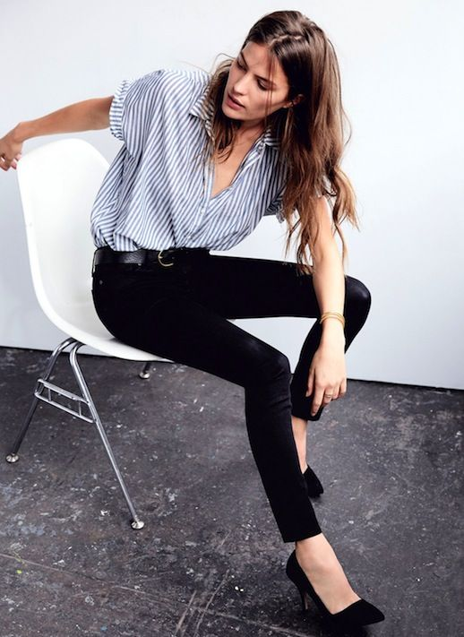 Meet Your New Favorite Pairing: Skinny Black Jeans And Stripes | Le Fashion | Bloglovin'