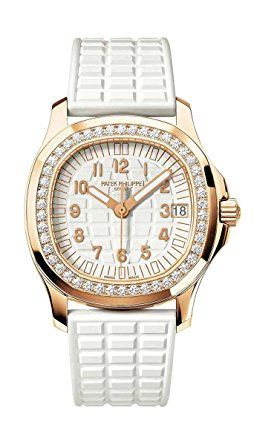 "Patek Philippe Ladies Aquanaut Rose Gold Diamond Bezel White Rubber Strap - Mechanical self-winding movement, Caliber 324 S C, Screw-down crown, Embossed dial, gold applied numerals, luminescent hour markers, ""Tropical"" composite strap Aquanaut fold-over clasp, Sapphire-crystal case back, Water resistant to 120 m, Rose gold, Case diameter (10 – 4 o'clock): 35.6 mm, Power reserve: Min. 35 hours - max. 45 hours. (affiliate link)"