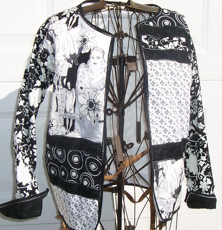 ButtonArtMuseum.com - Quilted sweatshirt jacket-black and white and buttons allover and vintage linen too. $125.00