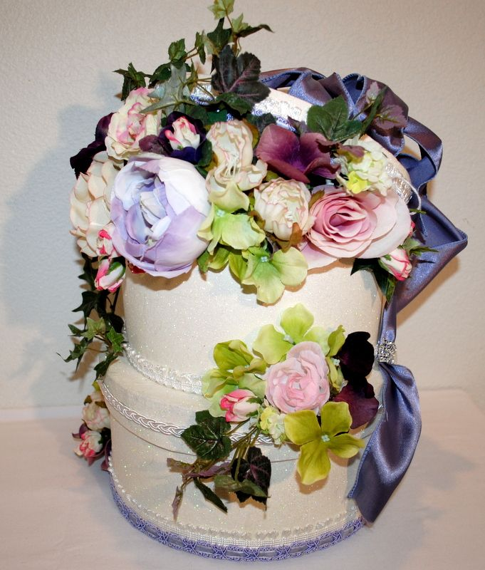 Wedding Card Reception Box - Beautiful flowers against a glitter base with a satin ribbon cascading down the back. CUSTOM BOXES.....anything you can dream of I can make! #Weddingcardboxes
