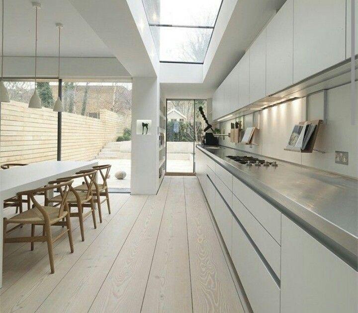 White, concrete  & oak