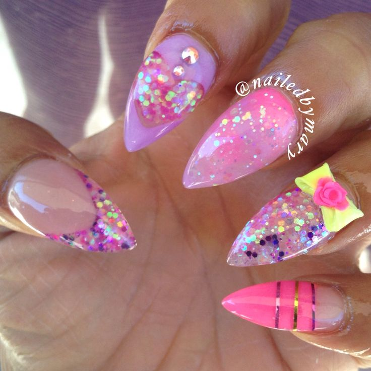 Pink purple marble glitter heart 3d nail art stiletto bow rose acrylic nails