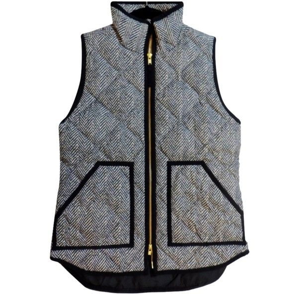 Pre-owned J.crew Excursion Vest ($150) ❤ liked on Polyvore featuring outerwear, vests, herringbone, j.crew vest, herringbone puffer vest, j.crew, puff vest and pattern vest
