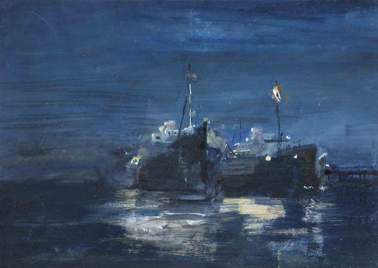 """Корабли на рейде"", 1950-е. Бумага, темпера"