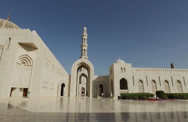 MUSCAT, OMAN:  The awe-inspiring Sultan Qaboos Grand Mosque in Muscat, Oman, is built from 300,000 tonnes of Indian sandstone.