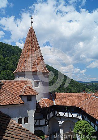Detail of the Bran Castle, also know as Dracula`s Castle, Brasov,  Romania