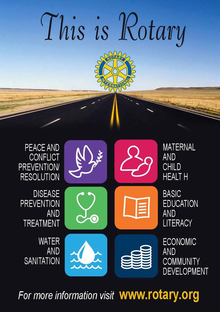 The Rotary Foundation and its six areas of focus.