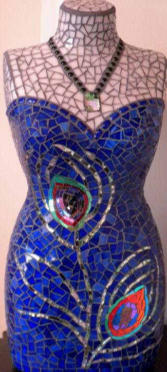 mosaic body form with peacock feathers
