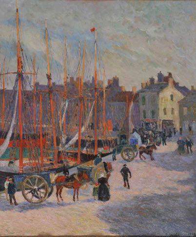 """André WILDER (1871-1965), """"Le port animé à Audierne"""", 1908"""