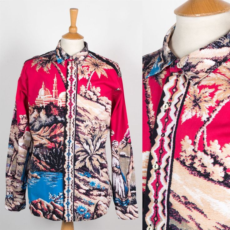 MENS VINTAGE RED ABSTRACT SHIRT INDIA CRAZY PATTERN PALM TREE CASUAL XL