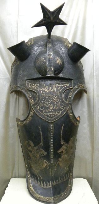 Old Turkish Warrior | ORIGINAL TURKISH / OTTOMAN HORSE WAR HELMET /FACE MASK STAR &