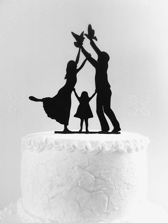 Wedding cake topper silhouette Family cake topper