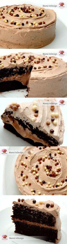 Tarta de chocolate rápida con frosting de nutella