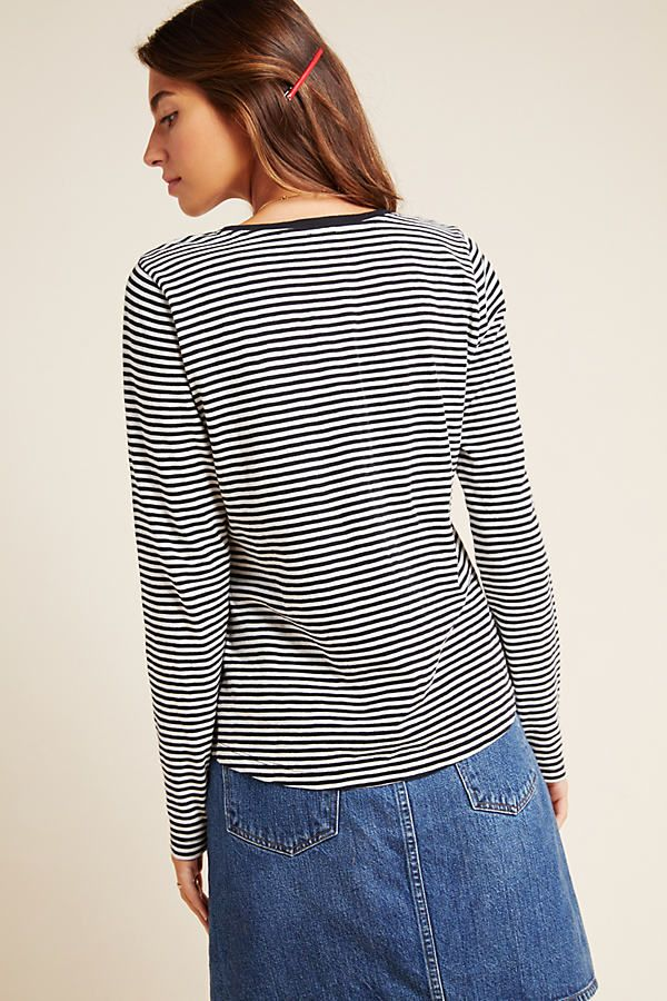 Petite Eze Sur Mer Piera Embroidered Tee in Black Size: Xs P, Women's Tees at Anthropologie 11