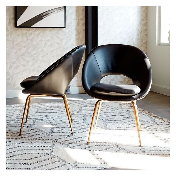West Elm Orb Dining Chair - Individual, Black Leather (7,525 MXN) ❤ liked on Polyvore featuring home, furniture, chairs, dining chairs, black kitchen chairs, modern black dining chairs, black leather dining chairs, leather chair and black leather kitchen chairs