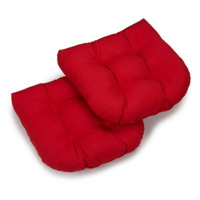 Blazing Needles Twill U-Shaped Indoor Chair Cushion - Set of 2 Red - 93184-2CH-TW-RD