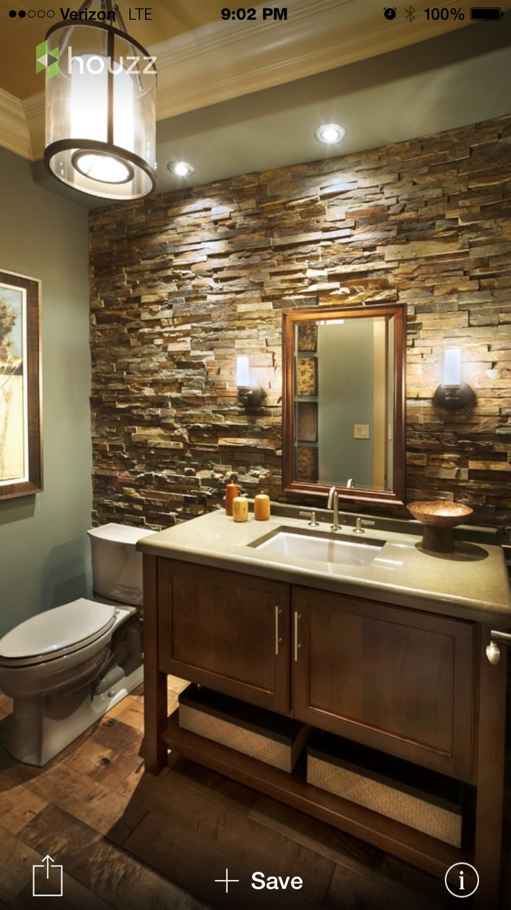 Rustic master bathroom with log walls amp undermount sink zillow digs - Rustic Stone Wall With Grey Bathroom Vanity Basement Bath Idea Sort Of