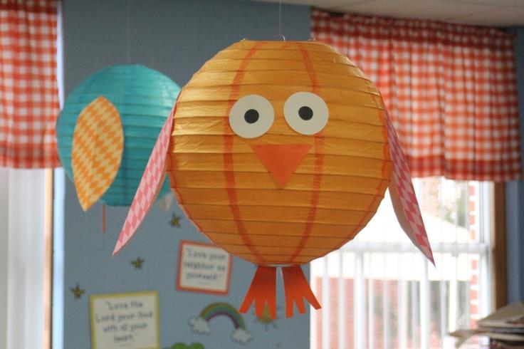 Cutest classroom ceiling decor. Go Beth. precious. Or fun party idea. Owl lanterns!