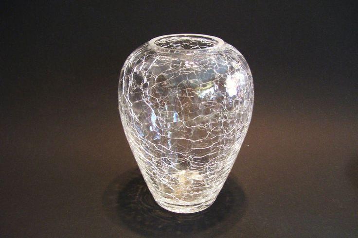 "Mid Century Crackle Glass Vase Ovoid Shape Clear 6 1/4"" Tall Estate Vintage #ValentinesDay"