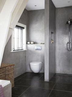 25 beste idee n over betonnen douche op pinterest beton badkamer douche en badkamer inspiratie for Idee betegelde toiletruimte