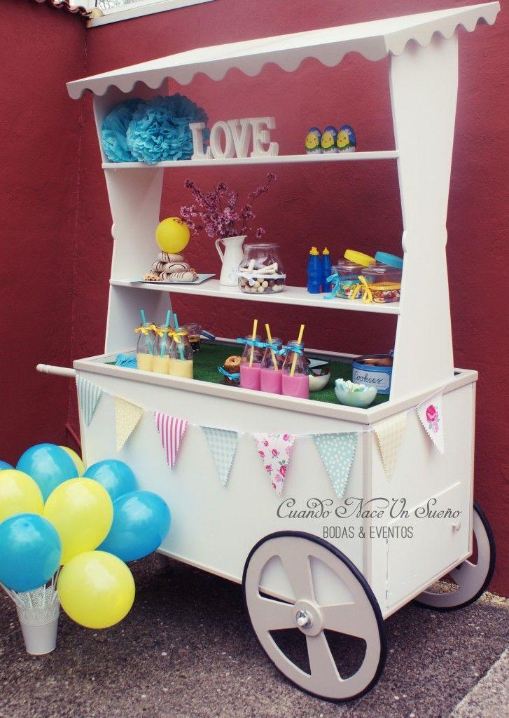 Carrito chuches dulces eventos candy bar boda bautizo - Mesa de chuches para bautizo ...