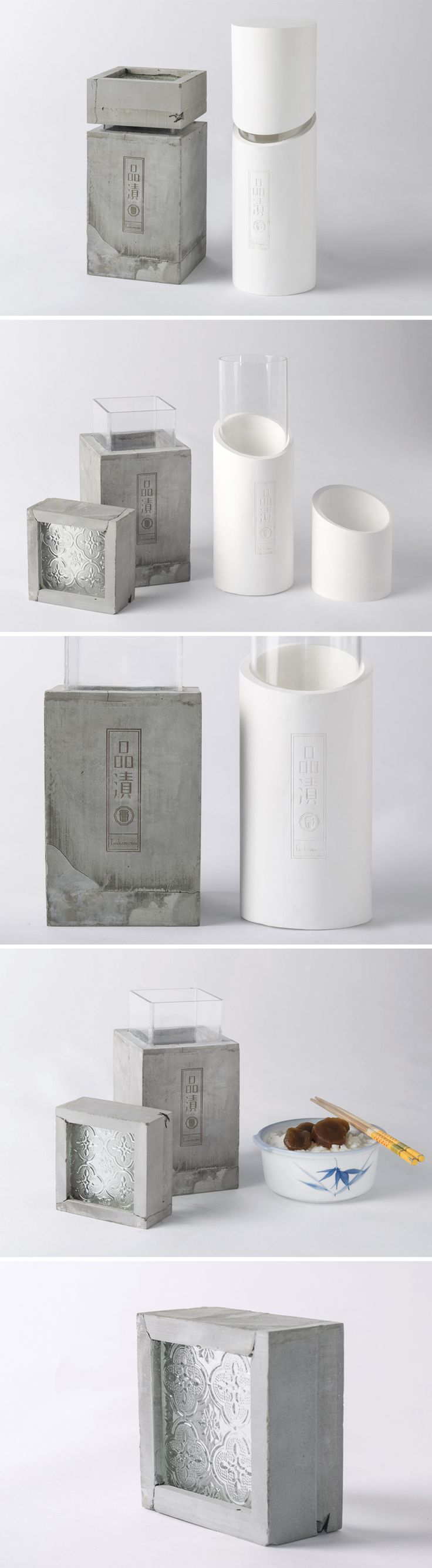 New material application of pickled product. The grey one is made of cement and the white one is plaster.