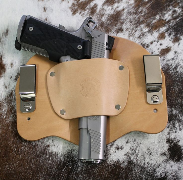 """""""The Bison"""" Model Holster will hold sub-compact, compact to full size and 1911 style  pistols.  Same holster works for right or left hand draw. Leather Holster will break into your firearm. The most comfortable IWB holster. Securely holds your weapon in place. Hand crafted in the USA. Fits belts up to 1 3/4"""".  Adjust cant and height by easily moving the screws. We use the best U.S. hides available.  Maintenance-free construction."""