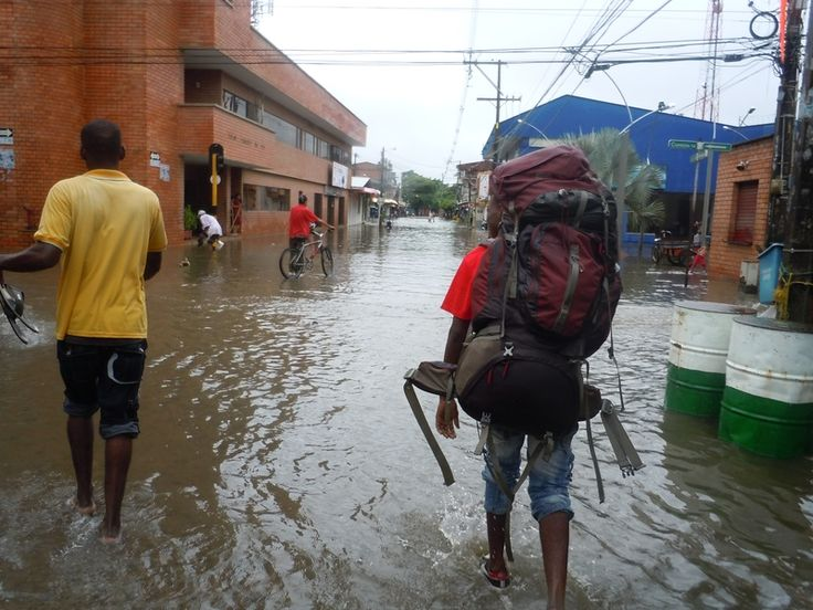 Flooded streets in Turbo, Colombia.  The guy in the photo is carrying my pack for a few bucks.  Let's just say I overpacked, but I learned my lesson :o)