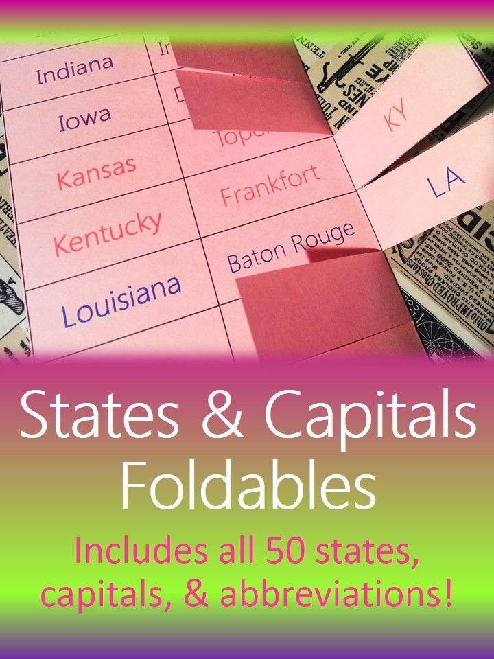 States capitals u0026 abbreviations foldable that improves