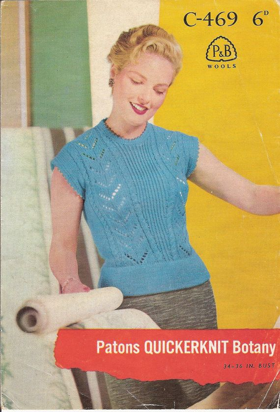Vintage Knitting Pattern: 1960s Patons Ladies Cap Sleeve Sweater, 4 ply, 34 - 36 inch (PDF Download)