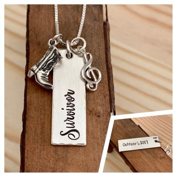 Route 91 Survivor Necklace Sterling Silver Country Strong Vegas Strong Survivor Necklace Sterling Silver Inspirational Gifts