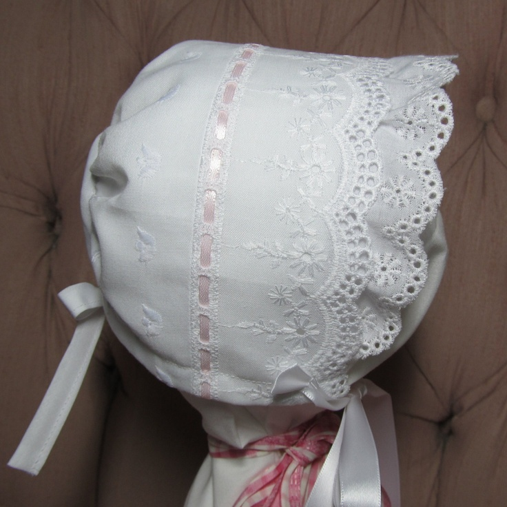 Eyelet Baby Bonnet with White or Pink Ribbon