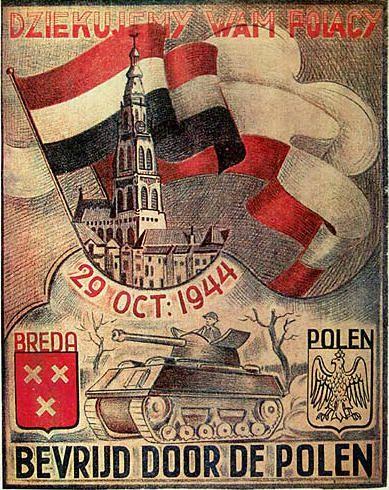 Breda - Affiche ter nagedachtenis aan de Bevrijding van Breda door de Polen op 29 oktober 1944.