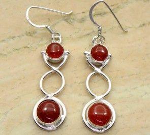 6.40ctw Genuine Carnelian & .925 Sterling Silver Plated Brass Dangle Earrings (SJHE0081CRN) #fashionearrings #fancyearrings #silverplatedearrings #platedearrings #brassearrings Buy Now:  http://www.sterlingsilverjewelry.tv/genuine-carnelian-silver-plated-brass-dangle-earrings-sjhe0081crn.html